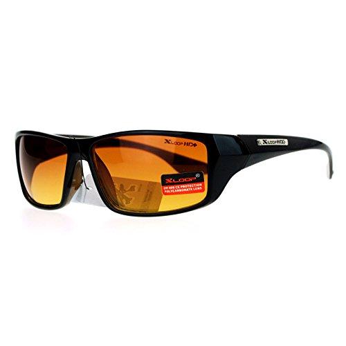 Xloop Mens HD Driving Amber Lens Rectangular Plastic Sport Sunglasses Black Brown