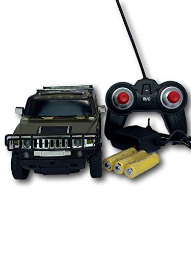 Hummer, Coche de Control Remoto Escala 1:24, Con batería Recargable Vehicle, colorVerde