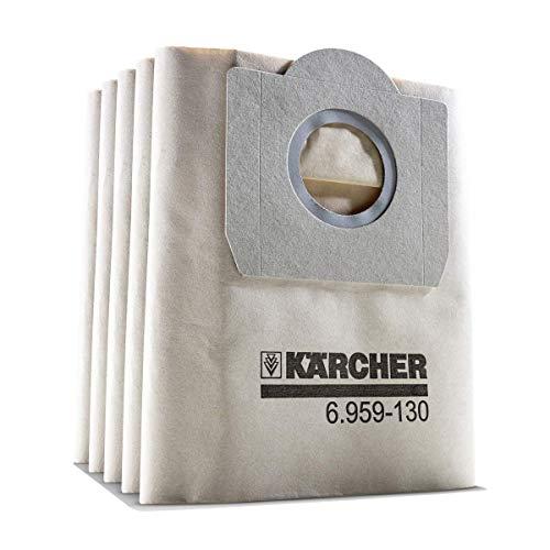 Kärcher Papierfilterbeutel, 5 Stück (2-lagig, hohe Reißfestigkeit, kompatibel mit Kärcher SE 4001/4002 und WD 3, Artikelnummer 6.959-130.0)