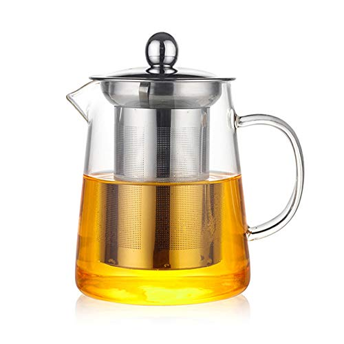 HKKAIS 950ML/32oz Glass Teapot with Removable Infuser, Teabloom Stovetop & Microwave Safe Borosilicate Glass Teapot, Blooming and Loose Leaf Tea Maker Set