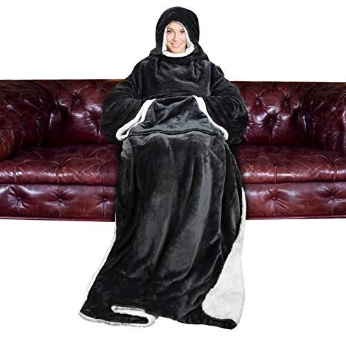 Catalonia TV Decke Kuscheldecke Ganzkörperdecke mit Ärmeln Kapuze und Taschen Snuggle Decke zum Anziehen Winter Fleece Sherpa Warme Decken für Erwachsene Frauen Männer 183cm x 140cm, Schwarz