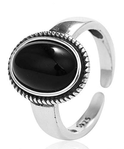 Lotus Fun Anello in argento Sterling S925, semplice, vintage, con agata nera, anello regolabile e temperamento fatto a mano, per donne e ragazze
