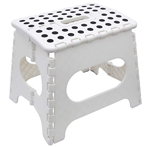 Astonishing Easy Folding Step Stool White Skid Resistant Max 100 Kg Home Kitchen Garage By Fancy Caraccident5 Cool Chair Designs And Ideas Caraccident5Info