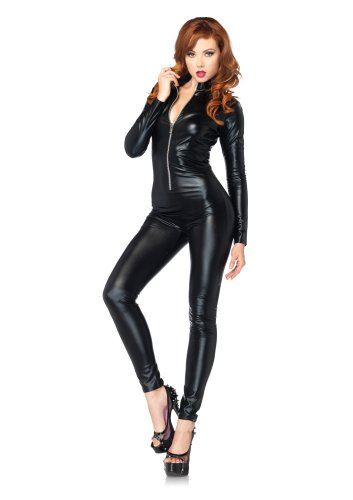Leg Avenue Women's Wet Look Zipper Front Cat Suit, Medium