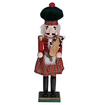 Clever Creations Red Scottish Bagpiper 15 Inch Traditional Wooden Nutcracker Festive Christmas Décor for Shelves and Tables