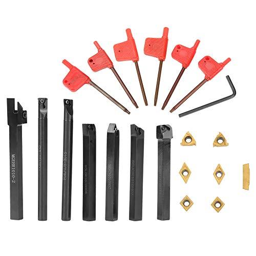 21PCS Werkzeugset aus Metall mit Werkzeugen für Tornio,Tornio Turning Toolin Metall Duro Cementato für Dell'Utensilienhalter mit Einsätzen, 10 mm
