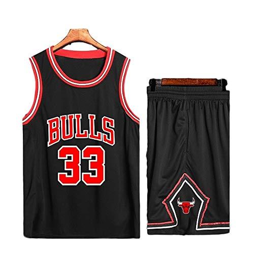 HTQ Basketball Trikot # 33 Scottie Pippen Chicago Bulls Basketball Uniform Set Sportswear Ärmelloses T-Shirt (Color : B, Size : M/36)