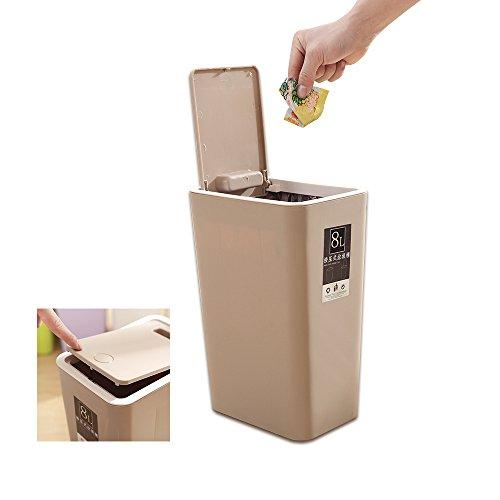 Baffect Cocina Push-Lid Cubos de Basura, presionando el Tipo de Cubierta Cubo de Basura de Cocina Compartimiento de Basura Delgado para la Sala de baño Papelera de Papel higiénico de la (marrón)