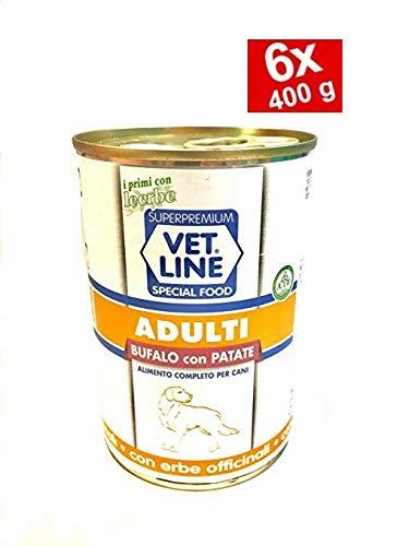 vet line Cani Adulti Monoproteico 6 Scatolette da 400 g Bufalo e Patate Umido