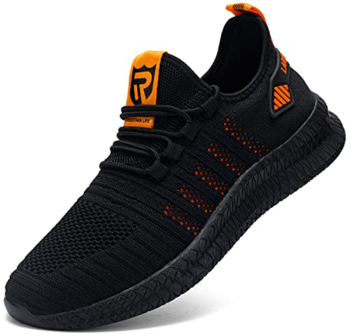 LARNMERN PLUS Zapatillas Hombres Transpirables Running Asfalto Zapatos Naranja 47
