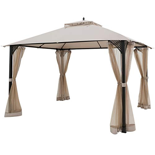 Tangkula 12 X 10FT Patio Gazebo, Heavy Duty Gazebo Canopy Shelter w/Sturdy Metal Frame & Netting Sidewalls, Air-Ventilated Canopy Party Tent w/Dual-Tiered Top for Backyard Garden Lawn (Beige)