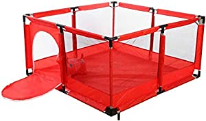 Playpens Baby Playyard Infant with Balls and Door  Safety Household Protective Fence Portable Assembled House Play Yards  Red  color Without Basketball Hoop