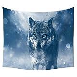 #Wandteppich #Wolf #Wolfskopf #blau-weiss 130x150 oder 150x200cm