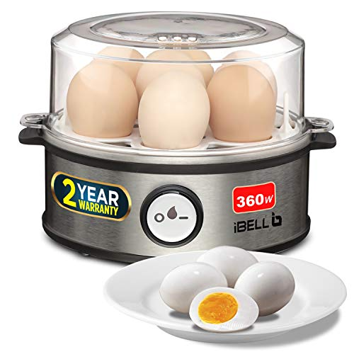 iBELL Hold The World. Digitally! EG007Y 360Watt, Stainless Steel Body and Heating Plate, 3 Boiling Modes, Automatic Shutdown Function 7 Egg Boiler with Tray