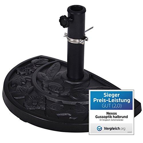 Nexos Schirmständer Sonnenschirmständer Gussoptik Polyresin halbrund Ø 49cm Plattenstärke 6,5cm ca. 9kg Stahlrohr lackiert Reduzierring schwarz