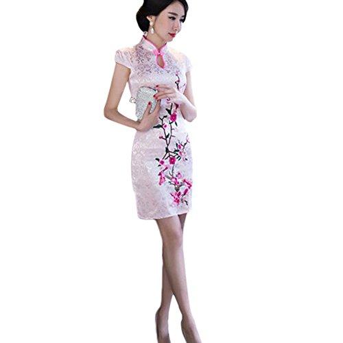 Hzjundasi New Encantador Chino Mujer Tradicional Vestido de Noche Corto Lino Cheongsam Floral Impreso Qipao M