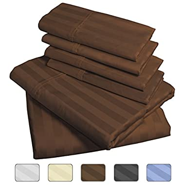 American Pillowcase 100% Egyptian Cotton Luxury Striped 540 Thread Count 6-Piece Sheet Set with Wrinkle Guard - California King, Chocolate