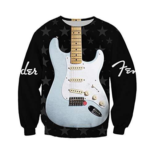 Hoodeint&Hen Hermosa Guitarra eléctrica en 3D, Traje Unisex con Estampado Completo, Sudadera con Capucha, Chaqueta con Cremallera Sweatshirt M