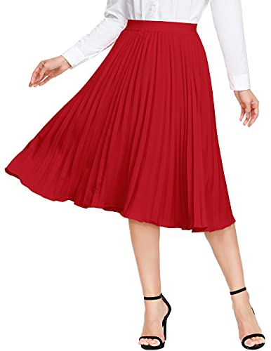 A Line Skirt Womens Midi Lightweight Stretchy High Waist Flare Pleated Skirt (Red,S)