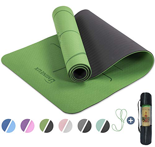 UMINEUX Yoga Mat Extra Thick 1/3'' Non Slip Yoga Mats for Women with Alignment Marks Eco Friendly TPE Fitness Exercise Mat with Carrying Strap & Storage Bag