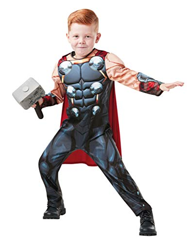 Rubies 640836M Disfraz infantil de Marvel Avengers Thor Deluxe para niños, tamaño mediano, negro