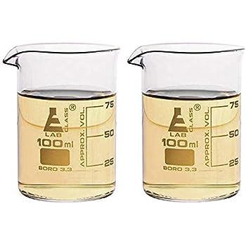 2PK Griffin Beaker Shot Glasses, 3.3oz (100ml) - Scientific Laboratory Quality Borosilicate 3.3 Glass - Double Shot - Eisco Labs