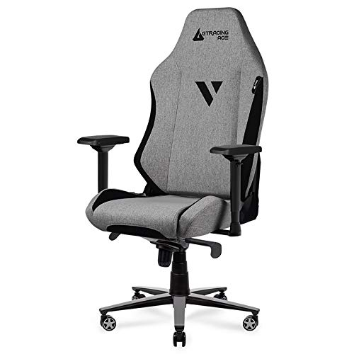 GTRACING Gaming Chair ACE Series Big and Tall Gaming Chair High Back Computer Office Chair Fabric Ergonomic Racing Chair Reclining with 4D Armrests, Swivel, Tilt, Rocker Seat Height Adjustment, Beige