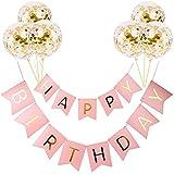 誕生日 飾り付けセット HAPPY BIRTHDAY ガーランド ゴールデン バルーン セット 誕生日 風船 バースデー 飾り ハッピーバースデー (ゴールド/ローズ) (ローズ)