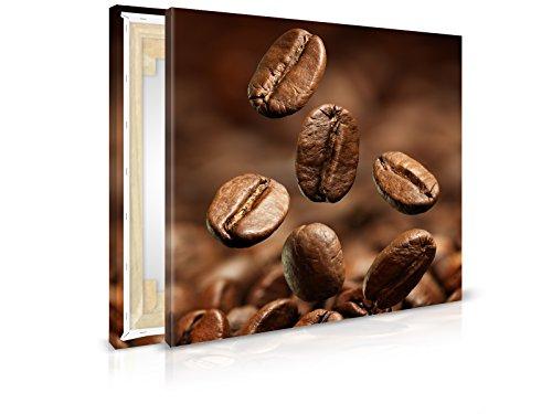 XXL-behang canvasfoto Coffee Beans - reeds opgespannen - schilderijen, kunstdruk, muurschildering, spieraam, afbeelding op canvas van trendy muren 60x60cm
