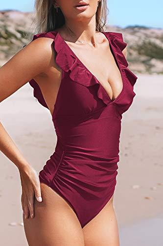 CUPSHE Bañador para Mujer Volante Cuello en V Fruncido Traje de Baño de Una Pieza,Rojo,M