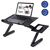CLAW Adjustable Laptop Stand with Dual Cooling Fans and Detachable Mousepad Tray, Aluminium + ABS Material, Perfect Portable Table for Use on Bed, Couch, Sofa, Desk
