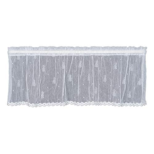 Heritage Lace Pineapple Valance with Trim, 45 by 15', White