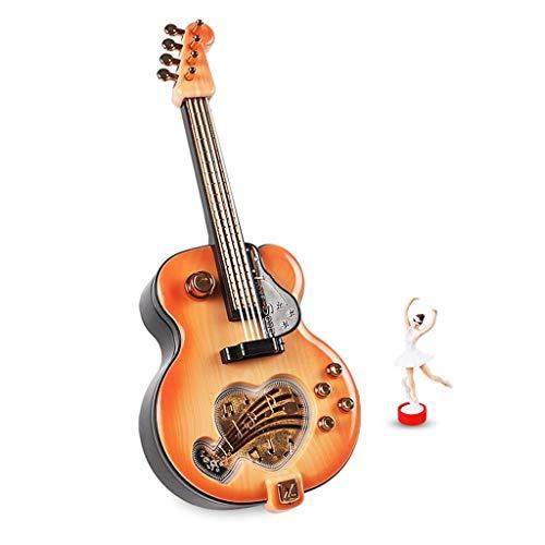 Hong Yi Fei-Shop Caja Musical Práctico Regalo Creativo Regalo de cumpleaños Día de Navidad Guitarra de plástico Caja de música Caja de música (Color : Brown)