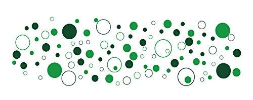 100 bunte Kreise Fahrradaufkleber, Autoaufkleber - dunkelgruen gruen selbstklebend in Wunschfarben - Punkte, Dots, Sticker Aufkleber fürs Auto und Fahrrad