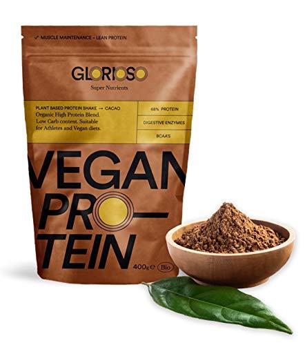 Glorioso Super Nutrienti Cioccolato Proteico Vegano Bio 400gr. Proteine vegane in polvere. Aumenta e mantiene la massa muscolare. Senza glutine e lattosio