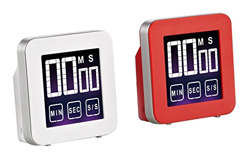 Cook N Home Touch Screen Digital Kitchen Timer Red and White, 2-pack