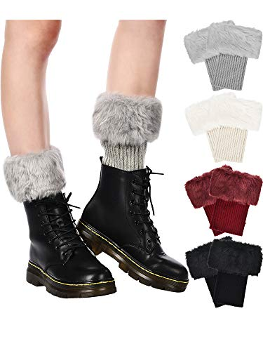 Pangda 4 Pairs Women Faux Fur Boot Cuff Short Furry Leg Warmers Girls Winter Socks Knitted Boot Socks, 4 Colors (Black, White, Grey and Wine Red)