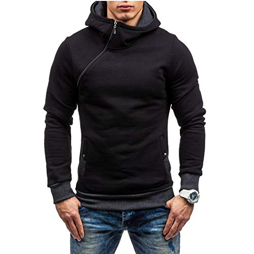 Jerseys para Hombre Otoño e Invierno Personalidad Cremallera Plus Terciopelo Suéter de Manga Larga Casual con Capucha Multicolor Suéter fácil de Ajustar XL