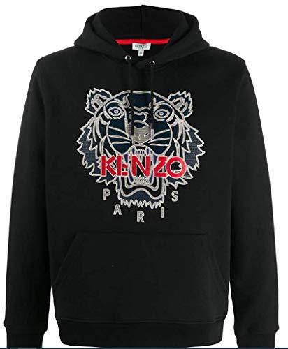 Kenzo Tiger - Sudadera para hombre, color negro con capucha, 100% algodón Negro M