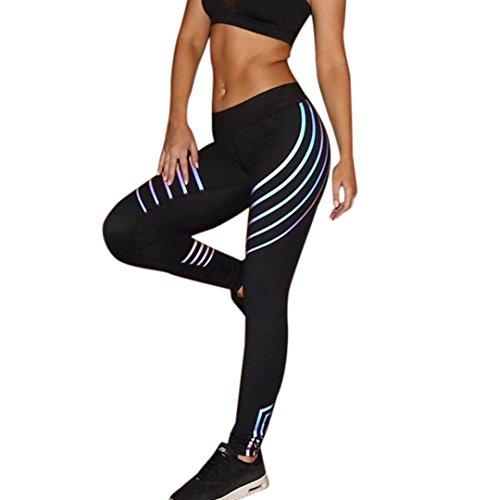 Yoga Hosen Damen, DoraMe Frauen Fitness Leggings Hoch Taille Sport Hosen Laser Farbe Laufen Gym Stretch Hosen (S, Schwarz)