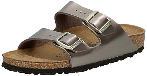 BIRKENSTOCK Damen Arizona Sandalen, Beige (Electric Metallic Taupe Electric Metallic Taupe), 38 EU