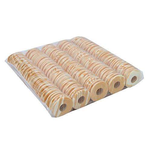 VORCOOL 100 bobinas de espuma para sedal de pesca de forma redonda carretes de pesca aparejos de pesca (impresión de madera)