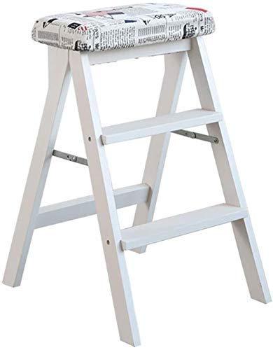 TYT Leitern Hocker Amp; 3-Stufen-Hocker Weiß Holzküche Home Leiter Adult High Stool Klappbarer Multifunktions-Tritthocker,B.