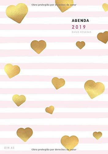 Agenda 2019 Din A5 Rayas Rosadas: Agenda anual semana vista año 2019, 1 Semana en 2 Páginas, 52 Semanas, Planificador y Calendario (Enero a Diciembre 2019)