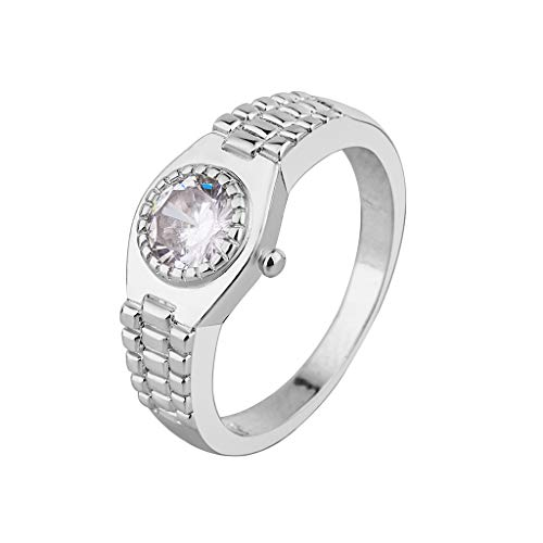 Nmch 2019 New Women Stylish Minimalist Watch Rings Jewelry Creative Exquisite Finger Rings Best Gift(Silver,5)