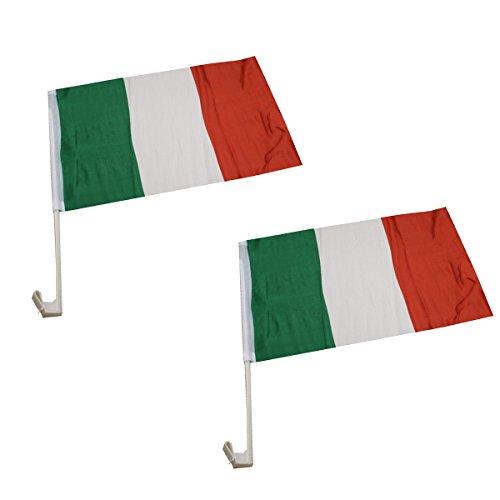 Sonia Originelli 2er Set Auto Flagge Fahne WM Länder Fußball Fan Farbe Italien