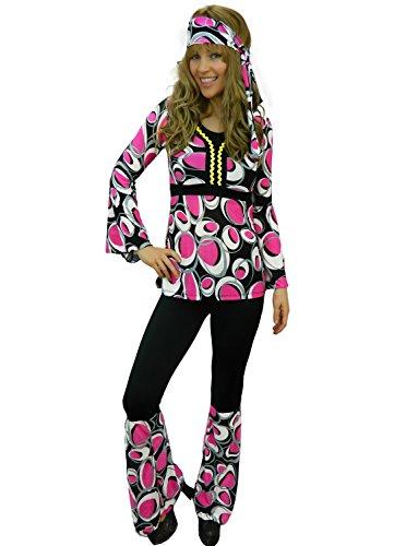 Yummy Bee - Hippy Années 60 70 Flower Power Hippie Gogo Disco Retro Déguisement Femme Grande Taille 34 - 46 (Rose,44)