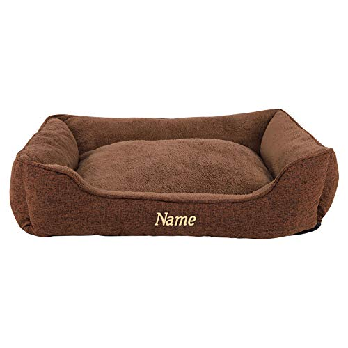Hundebett meliert Hundekissen Hundekörbchen Bezug abnehmbar (M) 90 x 75 cm Außenmaß (mit Namensaufdruck) Braun