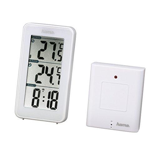 Hama EWS-152 Funk Wetterstation, Funkuhr und Thermometer, inkl. Außensensor mit 50m Reichweite, weiß