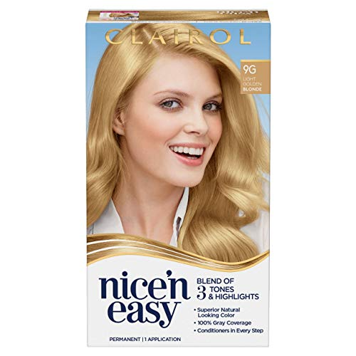 Clairol Nice'n Easy Permanent Hair Dye, 9G Light Golden Blonde Hair Color, 1 Count